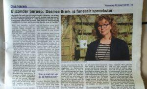Desiree Brink is funerair spreekster in Ons Haren